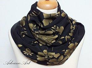 Šály - Hnedé kvety na čiernej - 3433309