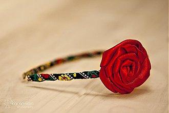 Ozdoby do vlasov - Čelenka s červenou ružičkou - 3440880