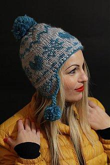 Čiapky, čelenky, klobúky - sivi-modrá ušianka s norskym vzorom - 3443093