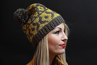 Čiapky, čelenky, klobúky - khaki so žltým vypletaným vzorom - 3443205