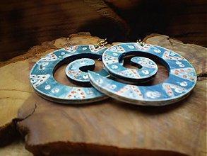 Náušnice - Obojstranné 3D náušnice - modrasté - 3443262
