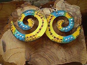 Náušnice - Obojstranné 3D náušnice - tyrkysovožlté - 3443871