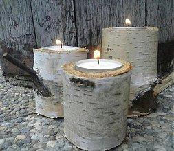 Svietidlá a sviečky - BREZOVÉ SVIETNIKY  / 3ks - 3445484