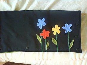 Textil - rukávnik na kočík s kvetinkami - 3446574