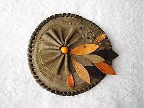 Odznaky/Brošne - Brošňa kožená, pozdná jeseň - 3451287