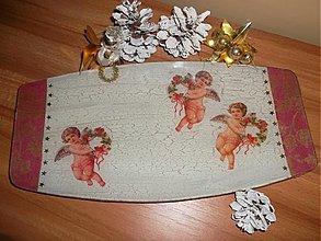 Dekorácie - Vianočný tanier - ANJELÍCI - 3457198