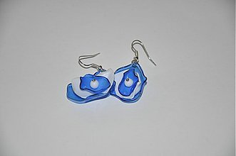 Náušnice - Modrásky nepravidelné, nausnice z PET flase, recyklacia plastovej flase, lahke nausnice - 3459158