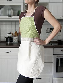 Úžitkový textil - Zásterka na želanie (zelená s bodkami) - 3459606