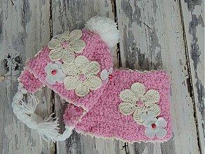 Detské čiapky - Ružová kvetinková - 3463563