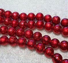 Korálky - Metalizované 10mm-10ks (červená) - 3466713