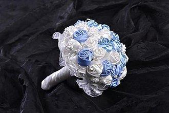 Kytice pre nevestu - Krémovo modrá látková kytička - 3470902