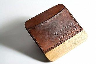 Peňaženky - Malá kožená peněženka, kombinace dřevo - kůže - 3473671