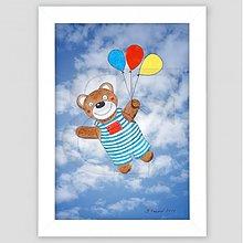 Obrazy - Medvedík s balóniky maľovaný obrázok - 3474148