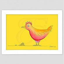 Obrazy - Sliepočka detský maľovaný obrázok A4 - 3474550