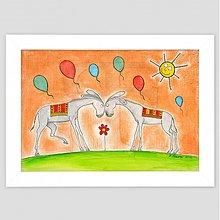 Obrazy - Oslíci maľovaný obrázok detský A4 - 3474590