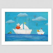 Obrazy - Chlapec v lodičke maľovaný obrázok rám - 3474653