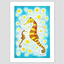 Obrazy - Morský koník maľovaný obrázok reprodukcia - 3475385
