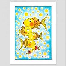 Obrazy - Rybky maľovaný obrázok v ráme A4 - 3475441