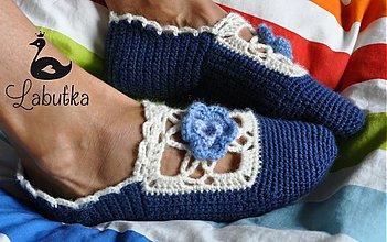 Obuv - Modré vlnené papuče s kvietkom - 3485846