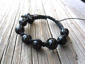 Náramky - Shamballa čierne drevo - 3490640