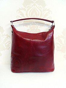 Kabelky - Bordová kožená kabelka Maťka s kvetom - 3492538