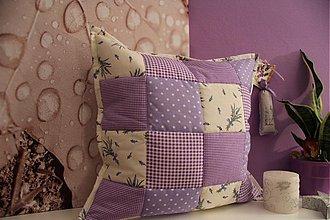 Úžitkový textil - patchwork obliečka levanduľa 40x40 cm - 3500926