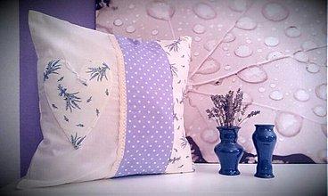 Úžitkový textil - patchwork obliečka levanduľa 40x40 cm - 3501078