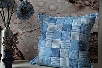 Úžitkový textil - patchwork obliečka svetlo-modra 40x40 cm - 3502164