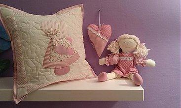 Textil - patchwork obliečka pre dievčatko 40x40 cm - 3502406