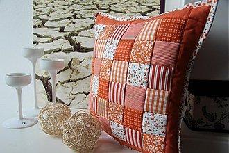 Úžitkový textil - patchwork deka a obliečka oranžová za super cenu - 3505896