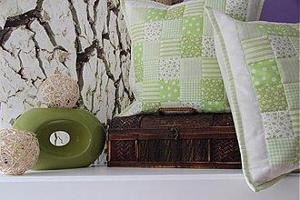 Úžitkový textil - patchwork deka a obliečka zelená - 3505907