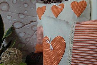 Úžitkový textil - patchwork deka a obliečka oranžová srdiečko za super cenu - 3506251