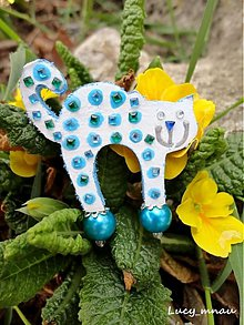 Odznaky/Brošne - Brošnička mačička-modrá bodka :) - 3507175