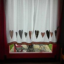 Úžitkový textil - Srdiečkové závesy na okná - 3508905