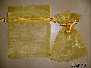 Obalový materiál - žlté organzové vrecúško 10 cm x 13 cm - 3510643