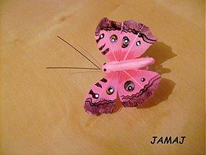 Galantéria - ružový motýľ - 3511435