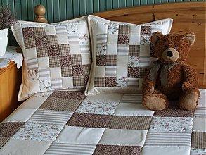 Úžitkový textil - Prehoz, vankúš patchwork vzor hnedo-béžová, deka 140x200 cm - 3511603