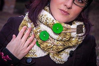 Šály - Ná-krk-čník zelený, melírovaný - 3512046