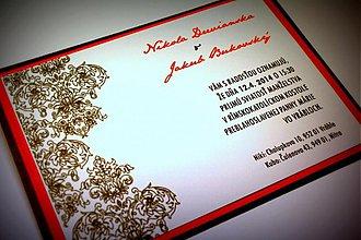 Papiernictvo - Svadobné oznámenie - čokoládovo červené - 3512204