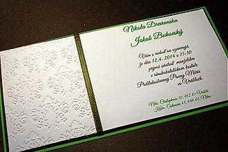 Papiernictvo - Svadobné oznámenie - čokoládovo zelené - 3512320