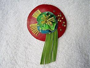 Odznaky/Brošne - Brošňa kožená, pestrosť - 3521408