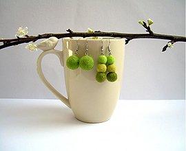 Náušnice - Náušničky Zelené guľôčky - 3526251