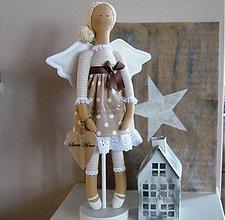 Bábiky - Béžový anjel so srdiečkom - 3530980