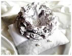 Prstene - Vankúšik-strieborný kvet. - 3535150