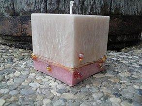Svietidlá a sviečky - kocka zdobená korálkami - 3539162