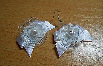 Náušnice - Recy-nevesta, biele nausnice aj na svadbu, pre romaticku nevestu, netradicne - 3541571