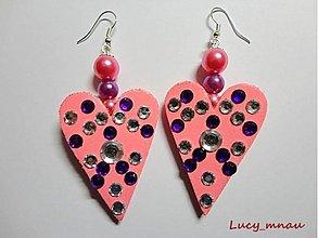 Náušnice - Náušničky srdiečko ružové :) - 3545383