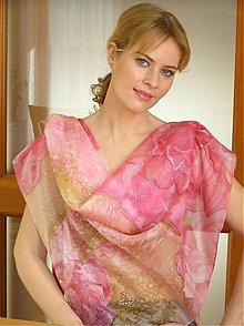 Šatky - Ružovo-béžové hodvábne... - 3552801