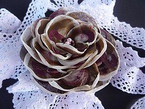 Ozdoby do vlasov - Spona ruža višne v čokoláde - 3555069