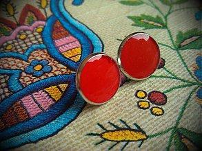 Náušnice - Náušničky real red - 3555730